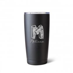 20 Oz Matte Black Brushed Initial Mug