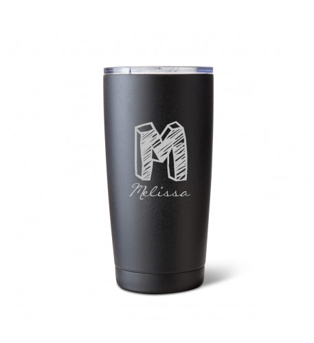 20 oz. Matte Black Brushed Initial Mug