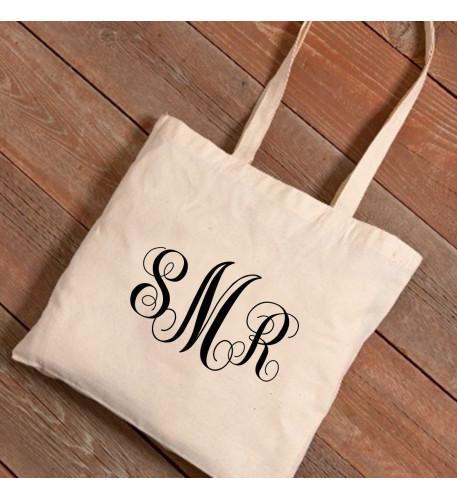 Personalized Interlocking Monogram Canvas Tote Bag