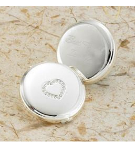Engraved Sweetheart Silver Plated Compact